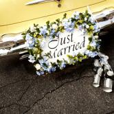 wedding car with cans