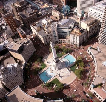 Monument circle aerial view