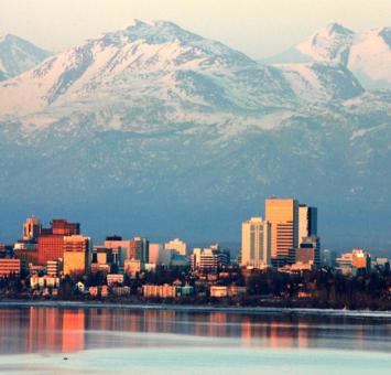 Anchorage skyline and mountains AK
