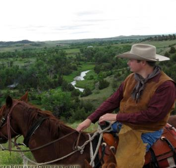 Cowboy and scenic view